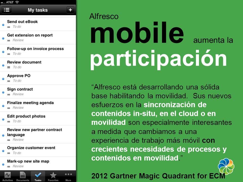 Alfresco está desarrollando una sólida base habilitando la movilidad. Sus nuevos esfuerzos en la sincronización de contenidos in-situ, en el cloud o e