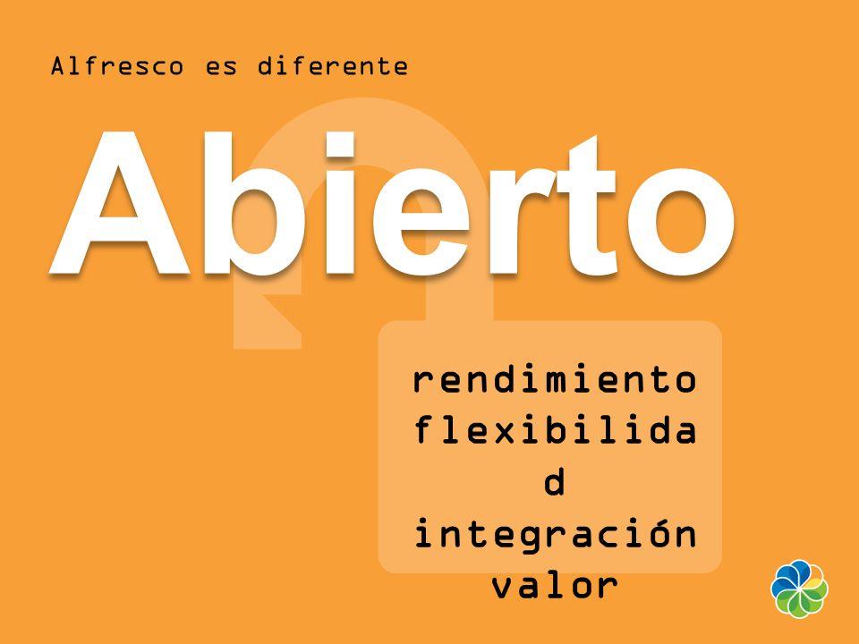 Alfresco es diferenteAbierto rendimiento flexibilida d integración valor
