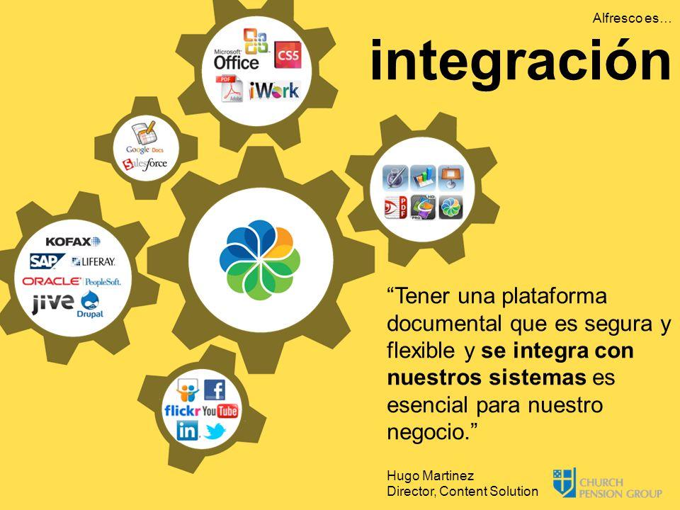 Tener una plataforma documental que es segura y flexible y se integra con nuestros sistemas es esencial para nuestro negocio. Hugo Martinez Director,