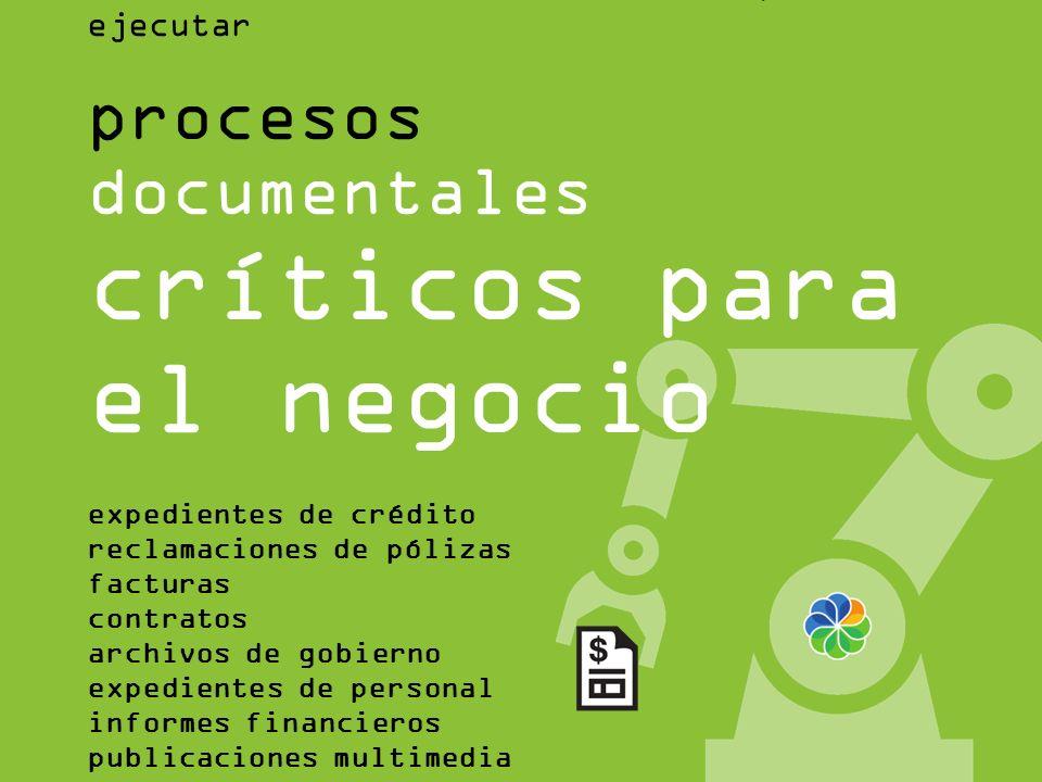 Alfresco Bussines Solutions nos permite ejecutar procesos documentales críticos para el negocio expedientes de crédito reclamaciones de pólizas factur