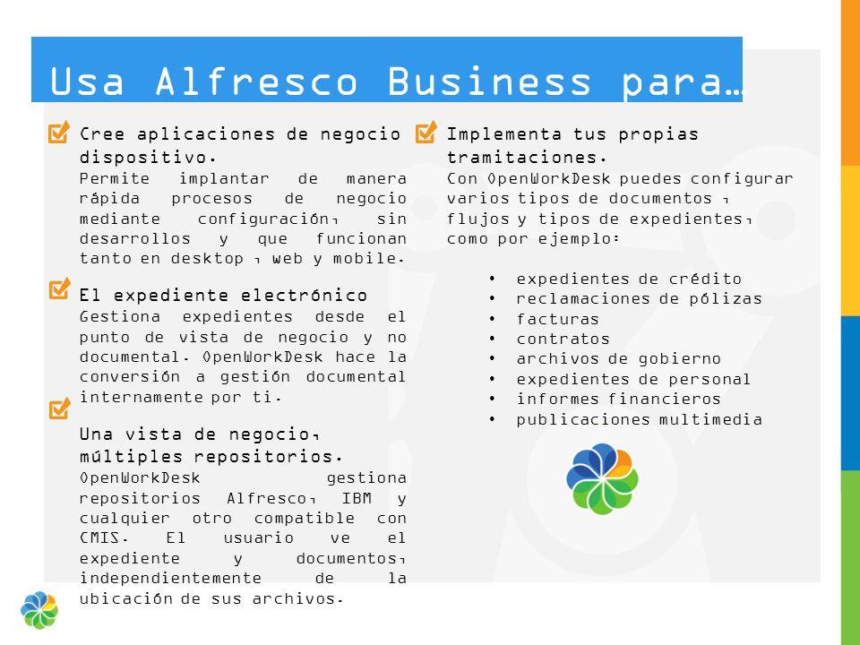 Cree aplicaciones de negocio dispositivo. Permite implantar de manera rápida procesos de negocio mediante configuración, sin desarrollos y que funcion