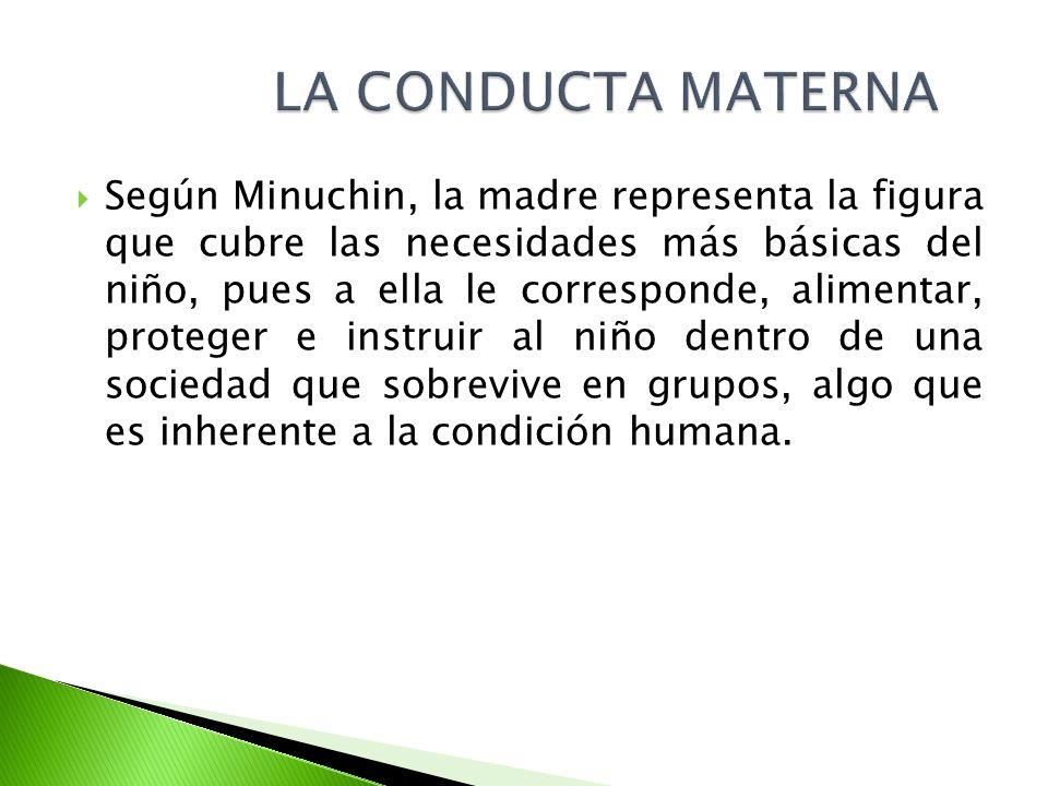 Según Minuchin, la madre representa la figura que cubre las necesidades más básicas del niño, pues a ella le corresponde, alimentar, proteger e instru