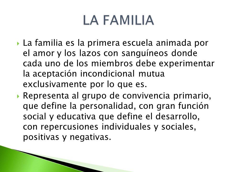 La familia es la primera escuela animada por el amor y los lazos con sanguíneos donde cada uno de los miembros debe experimentar la aceptación incondi