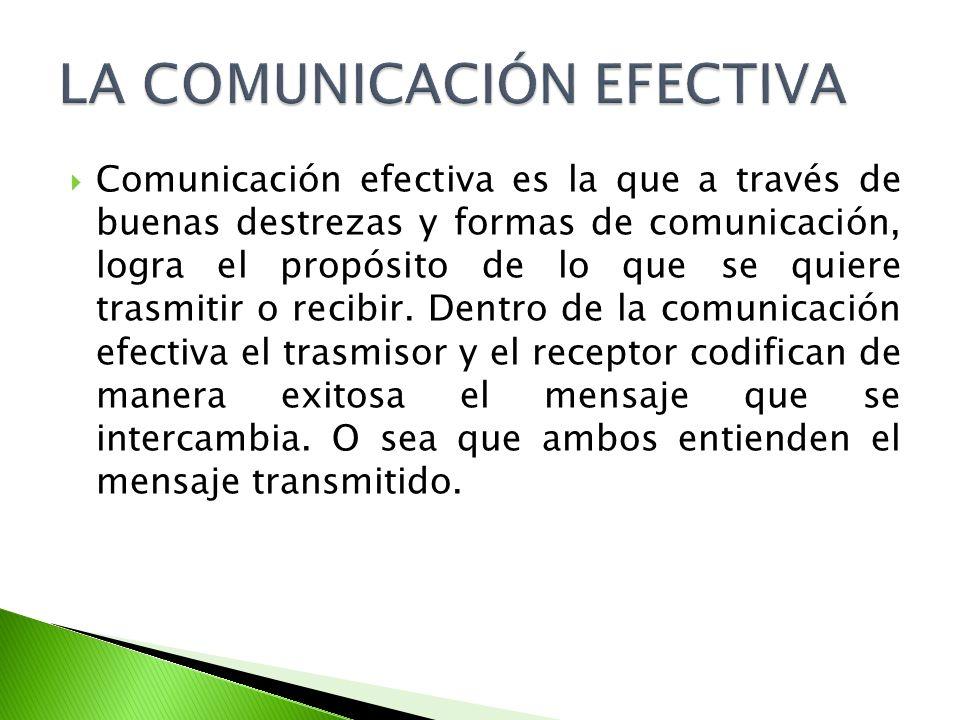 Comunicación efectiva es la que a través de buenas destrezas y formas de comunicación, logra el propósito de lo que se quiere trasmitir o recibir. Den