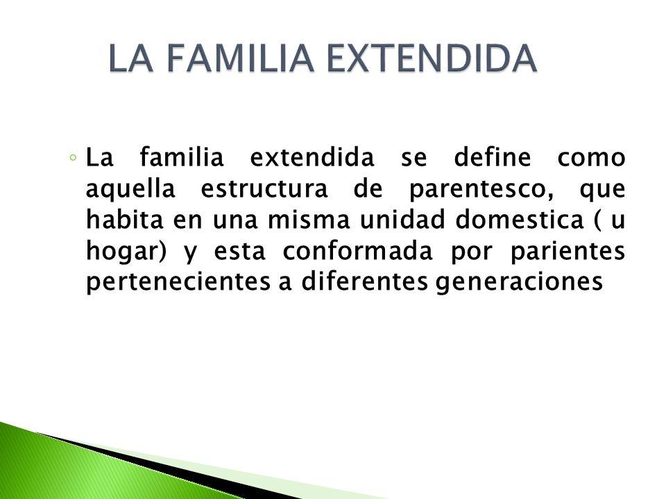 La familia extendida se define como aquella estructura de parentesco, que habita en una misma unidad domestica ( u hogar) y esta conformada por parien