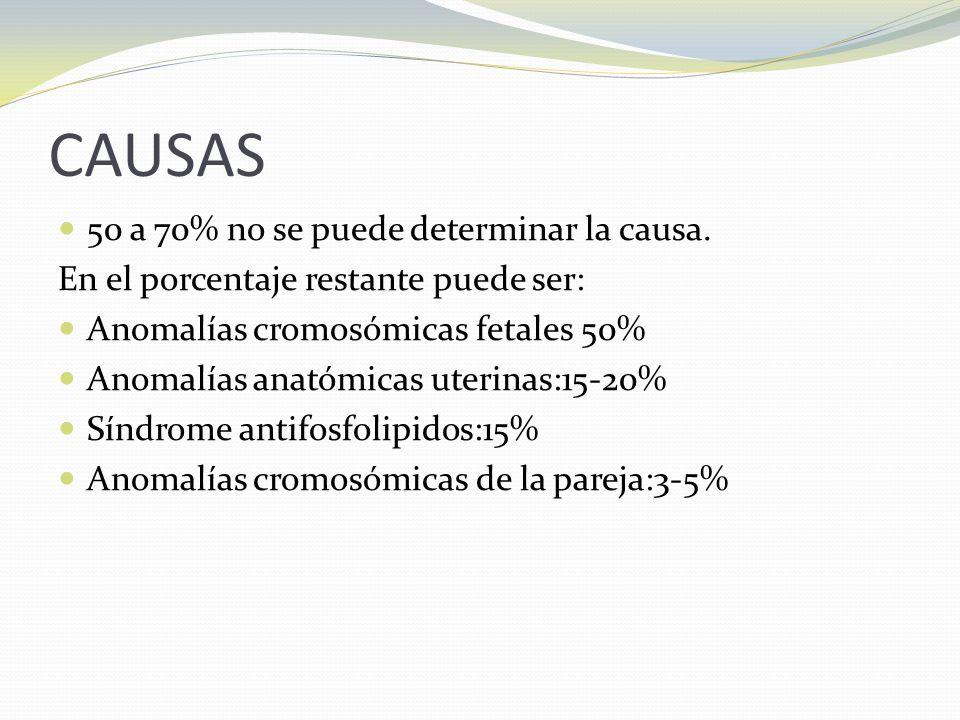 CAUSAS 50 a 70% no se puede determinar la causa.