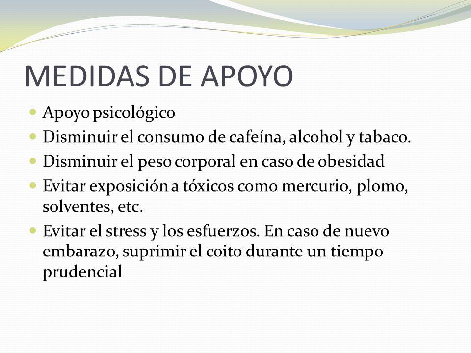 MEDIDAS DE APOYO Apoyo psicológico Disminuir el consumo de cafeína, alcohol y tabaco.