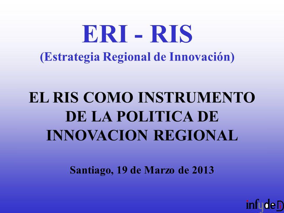 EL RIS COMO INSTRUMENTO DE LA POLITICA DE INNOVACION REGIONAL Santiago, 19 de Marzo de 2013 ERI - RIS (Estrategia Regional de Innovación)