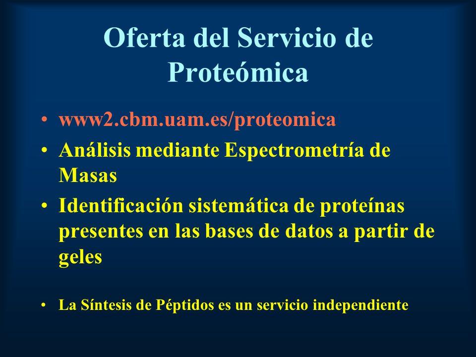 Oferta del Servicio de Proteómica www2.cbm.uam.es/proteomica Análisis mediante Espectrometría de Masas Identificación sistemática de proteínas presentes en las bases de datos a partir de geles La Síntesis de Péptidos es un servicio independiente