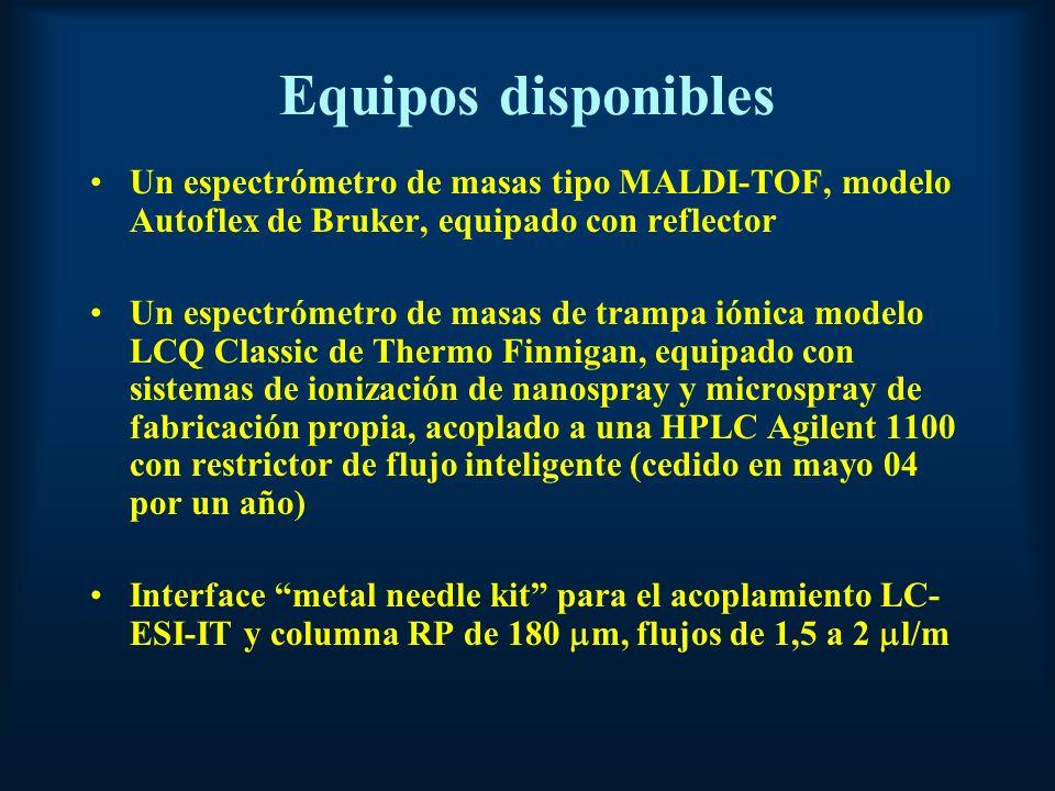 Equipos disponibles Un espectrómetro de masas tipo MALDI-TOF, modelo Autoflex de Bruker, equipado con reflector Un espectrómetro de masas de trampa iónica modelo LCQ Classic de Thermo Finnigan, equipado con sistemas de ionización de nanospray y microspray de fabricación propia, acoplado a una HPLC Agilent 1100 con restrictor de flujo inteligente (cedido en mayo 04 por un año) Interface metal needle kit para el acoplamiento LC- ESI-IT y columna RP de 180 m, flujos de 1,5 a 2 l/m