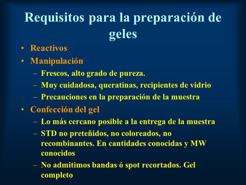 Requisitos para la preparación de geles Reactivos Manipulación –Frescos, alto grado de pureza.