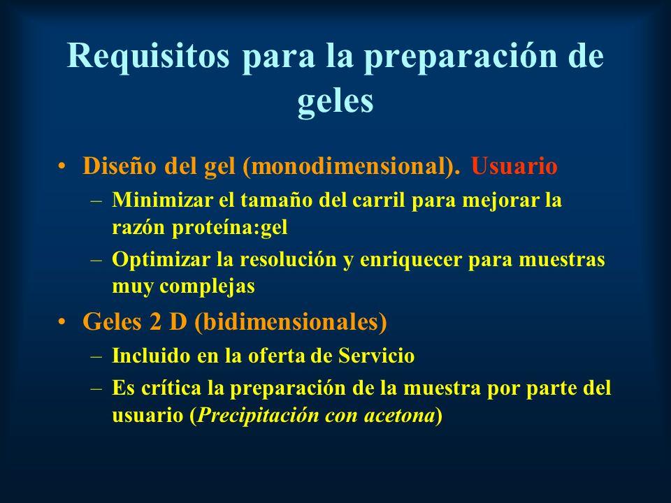 Requisitos para la preparación de geles Diseño del gel (monodimensional).