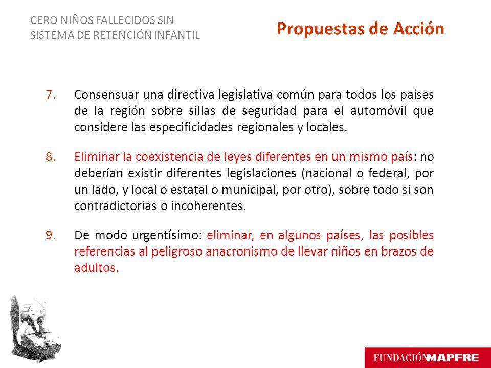 7.Consensuar una directiva legislativa común para todos los países de la región sobre sillas de seguridad para el automóvil que considere las especificidades regionales y locales.
