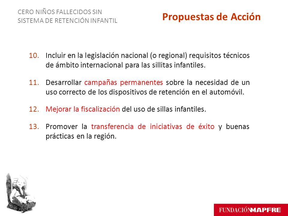 10.Incluir en la legislación nacional (o regional) requisitos técnicos de ámbito internacional para las sillitas infantiles.
