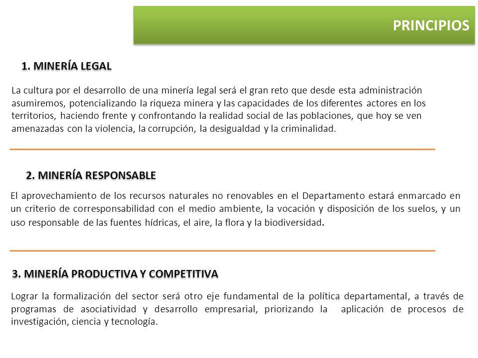 1. MINERÍA LEGAL 2. MINERÍA RESPONSABLE 3. MINERÍA PRODUCTIVA Y COMPETITIVA Lograr la formalización del sector será otro eje fundamental de la polític