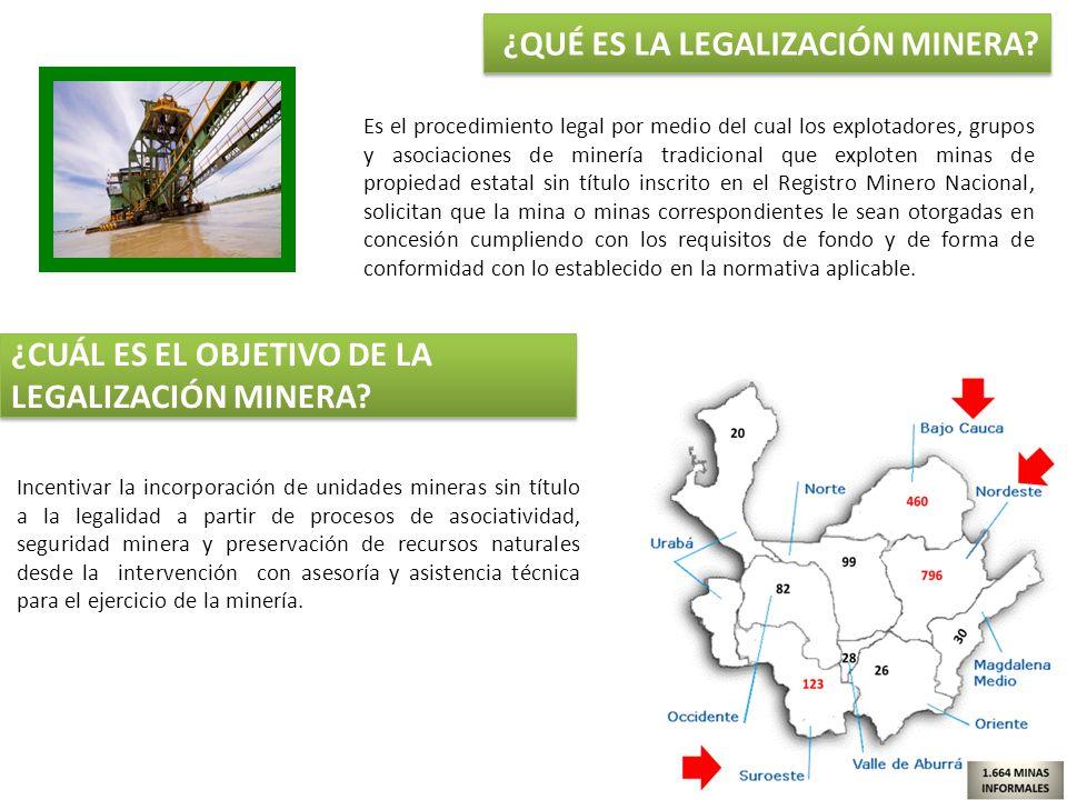 Es el procedimiento legal por medio del cual los explotadores, grupos y asociaciones de minería tradicional que exploten minas de propiedad estatal si
