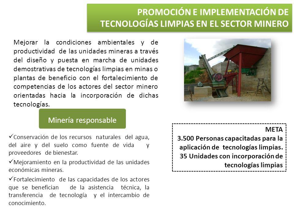 META 3.500 Personas capacitadas para la aplicación de tecnologías limpias. 35 Unidades con incorporación de tecnologías limpias Minería responsable Co