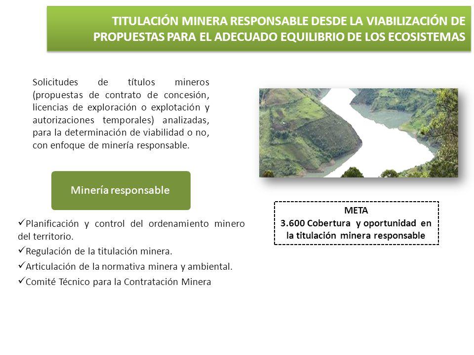 META 3.600 Cobertura y oportunidad en la titulación minera responsable Minería responsable Planificación y control del ordenamiento minero del territo