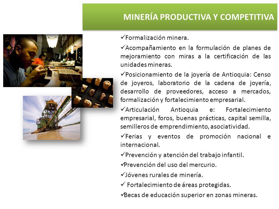 MINERÍA PRODUCTIVA Y COMPETITIVA Formalización minera. Acompañamiento en la formulación de planes de mejoramiento con miras a la certificación de las