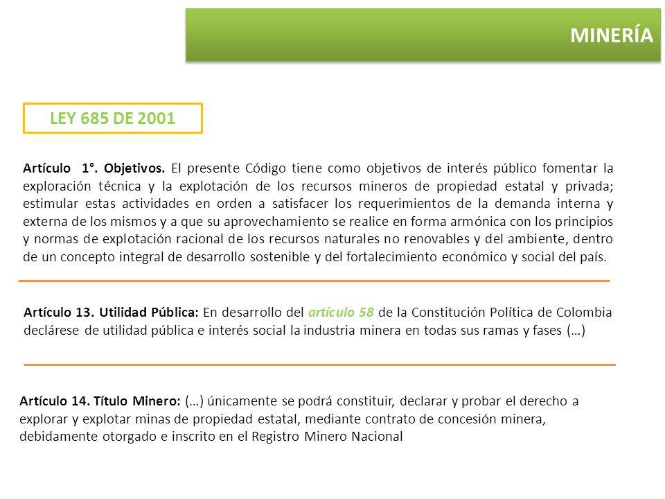 MINERÍA Artículo 13. Utilidad Pública: En desarrollo del artículo 58 de la Constitución Política de Colombia declárese de utilidad pública e interés s