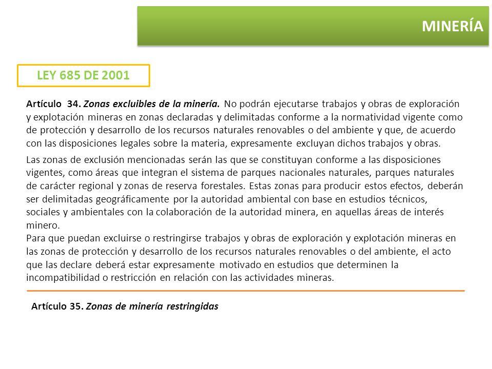 MINERÍA Artículo 34. Zonas excluibles de la minería. No podrán ejecutarse trabajos y obras de exploración y explotación mineras en zonas declaradas y