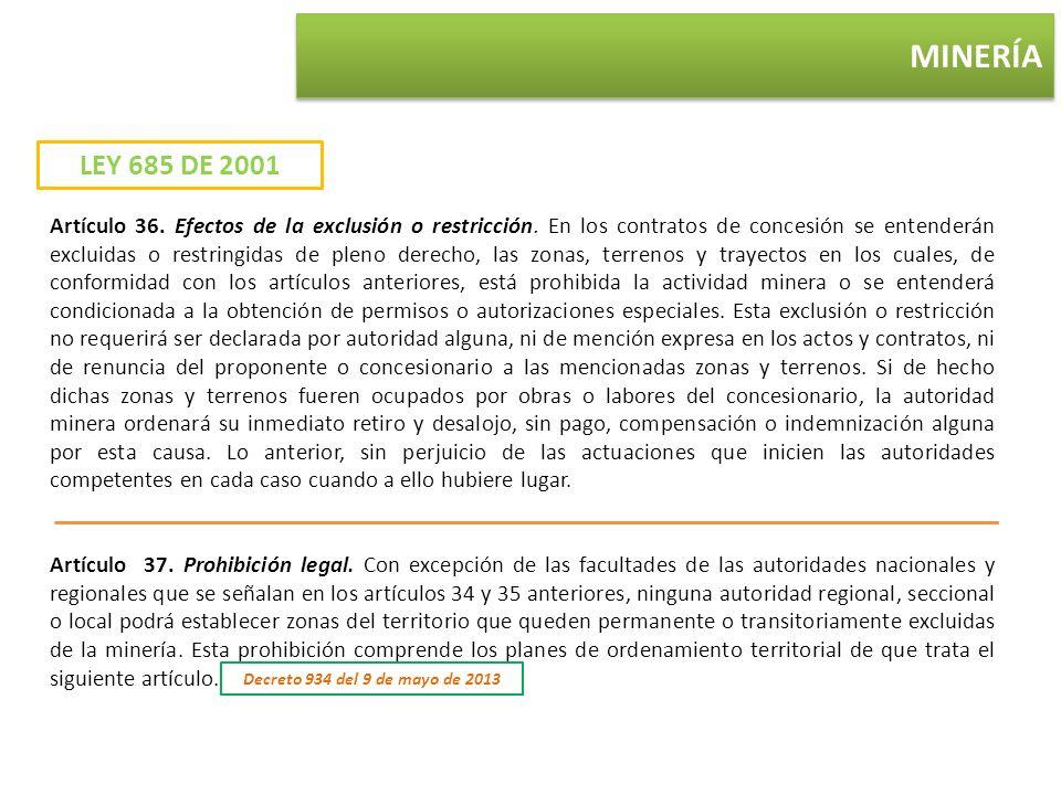 MINERÍA LEY 685 DE 2001 Artículo 36. Efectos de la exclusión o restricción. En los contratos de concesión se entenderán excluidas o restringidas de pl