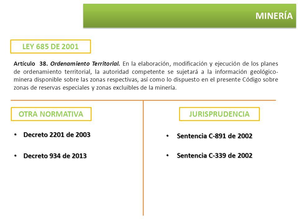 MINERÍA LEY 685 DE 2001 Artículo 38. Ordenamiento Territorial. En la elaboración, modificación y ejecución de los planes de ordenamiento territorial,
