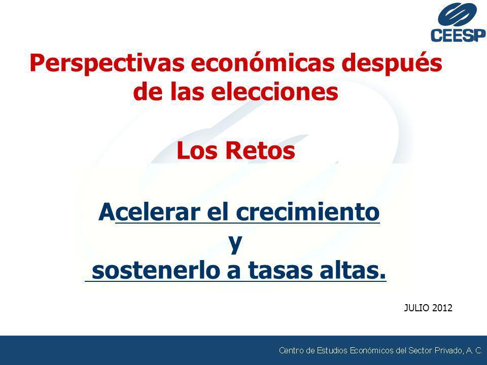 Perspectivas económicas después de las elecciones Los Retos Acelerar el crecimiento y sostenerlo a tasas altas. JULIO 2012