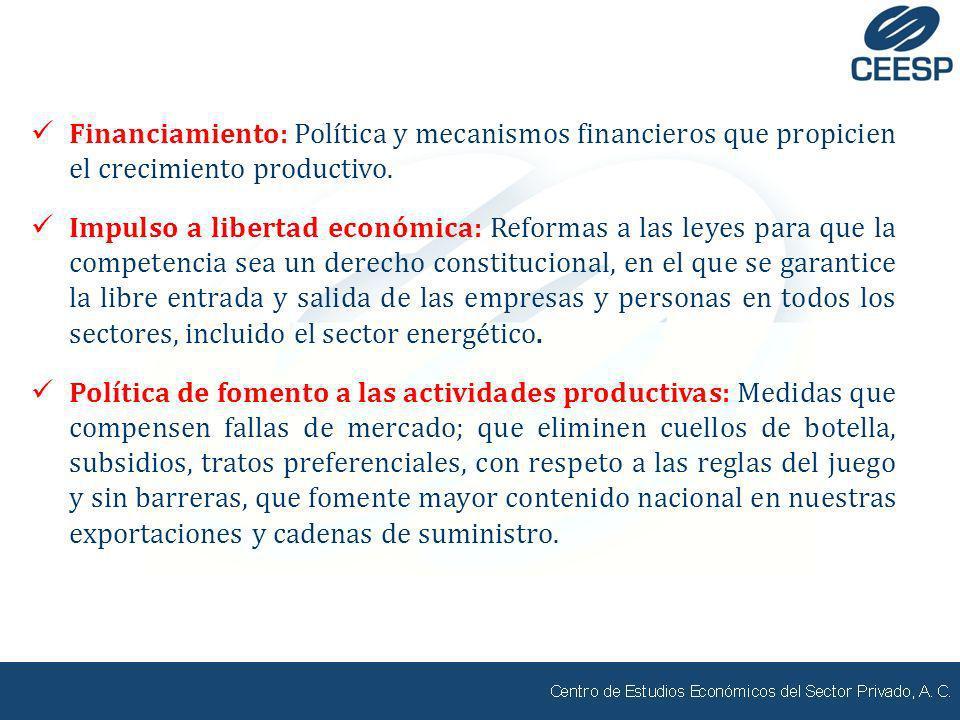 Financiamiento: Política y mecanismos financieros que propicien el crecimiento productivo. Impulso a libertad económica: Reformas a las leyes para que
