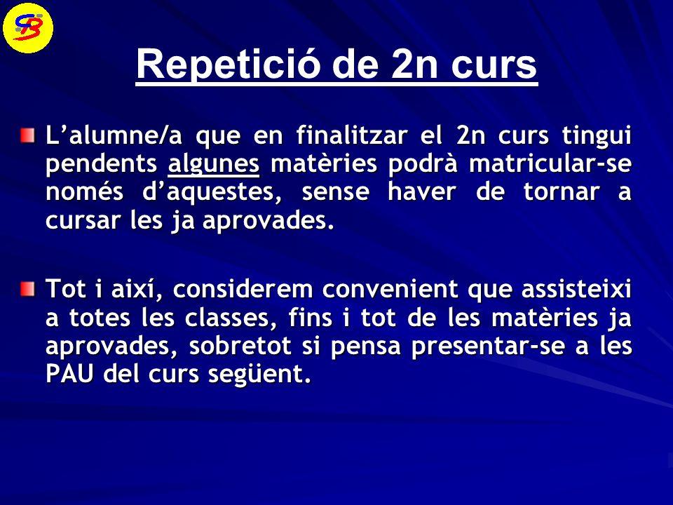Repetició de 2n curs Lalumne/a que en finalitzar el 2n curs tingui pendents algunes matèries podrà matricular-se només daquestes, sense haver de tornar a cursar les ja aprovades.