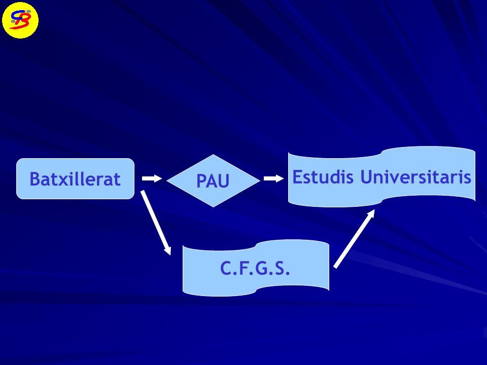 Batxillerat PAU Estudis Universitaris C.F.G.S.