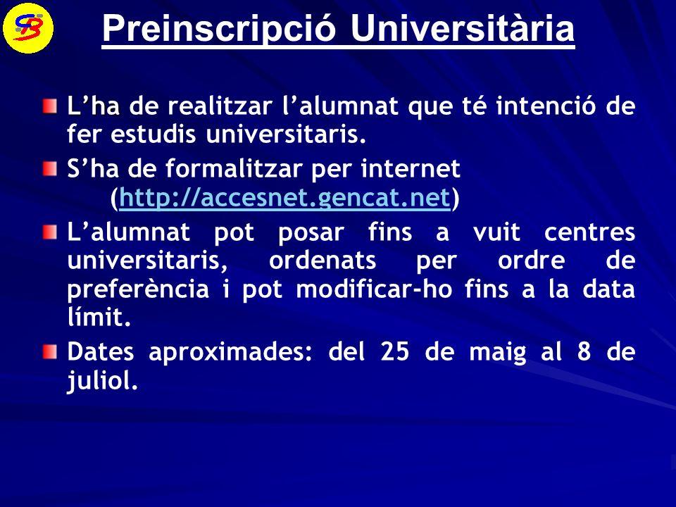 Preinscripció Universitària Lha Lha de realitzar lalumnat que té intenció de fer estudis universitaris.