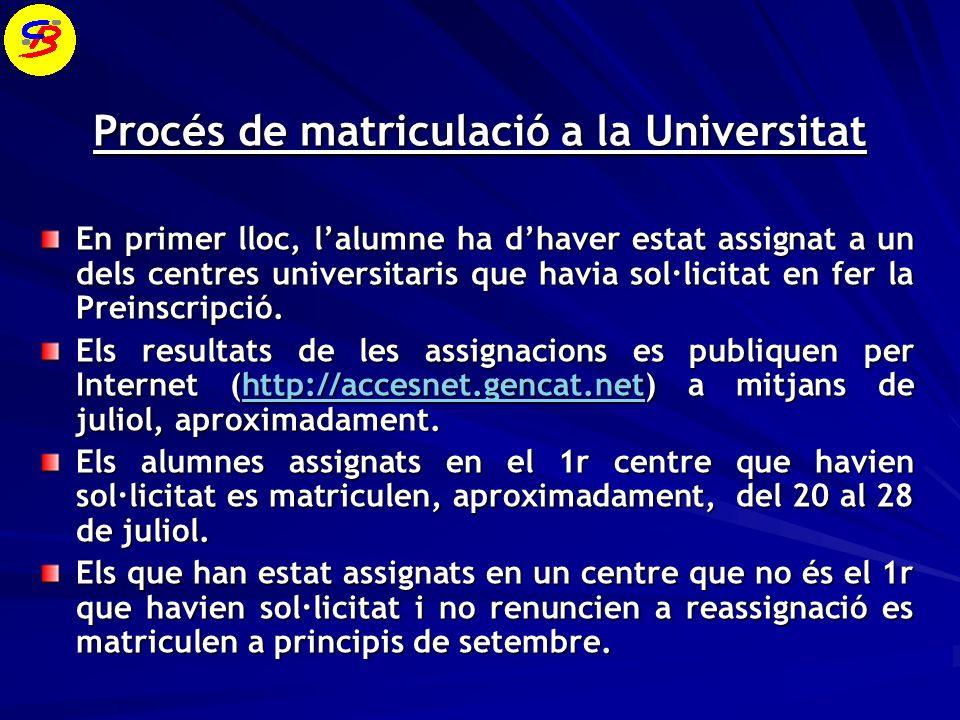 Procés de matriculació a la Universitat En primer lloc, lalumne ha dhaver estat assignat a un dels centres universitaris que havia sol·licitat en fer la Preinscripció.