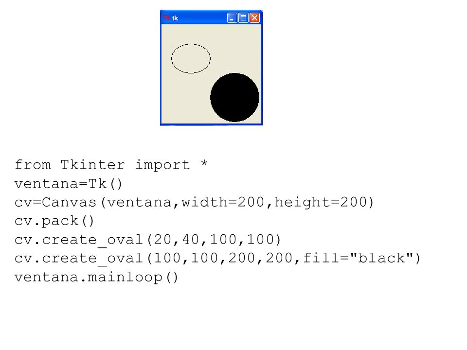 from Tkinter import * ventana=Tk() cv=Canvas(ventana,width=200,height=200) cv.pack() cv.create_oval(20,40,100,100) cv.create_oval(100,100,200,200,fill