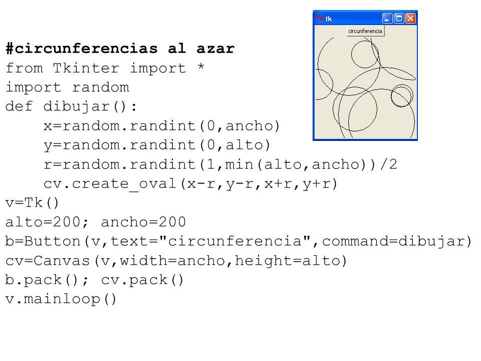 #circunferencias al azar from Tkinter import * import random def dibujar(): x=random.randint(0,ancho) y=random.randint(0,alto) r=random.randint(1,min(