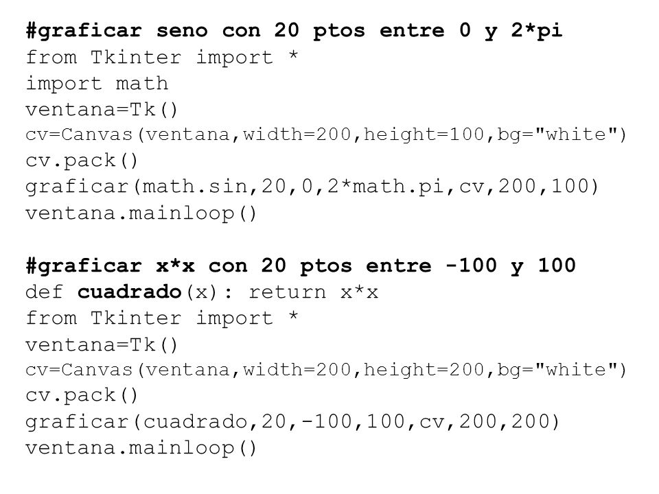#graficar seno con 20 ptos entre 0 y 2*pi from Tkinter import * import math ventana=Tk() cv=Canvas(ventana,width=200,height=100,bg=