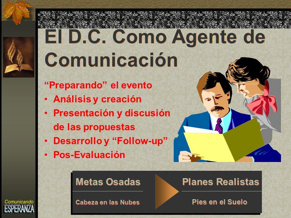 Preparando el evento Análisis y creación Presentación y discusión de las propuestas Desarrollo y Follow-up Pos-Evaluación El D.C.