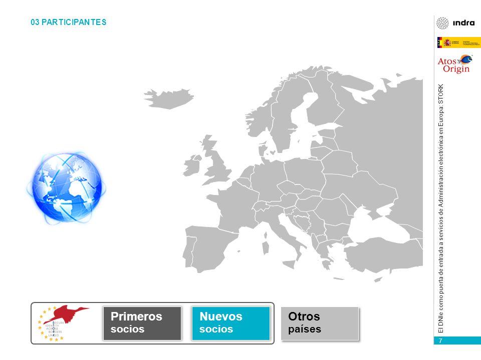 7 El DNIe como puerta de entrada a servicios de Administración electrónica en Europa: STORK Primeros socios Nuevos socios Otros países 03 PARTICIPANTES