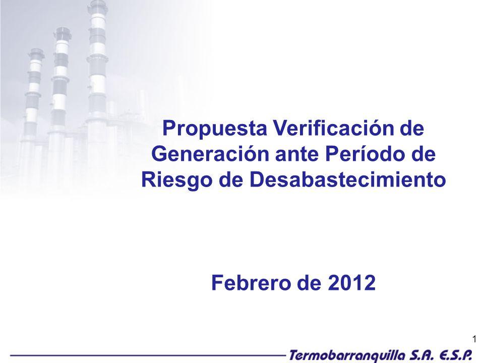 1 Propuesta Verificación de Generación ante Período de Riesgo de Desabastecimiento Febrero de 2012
