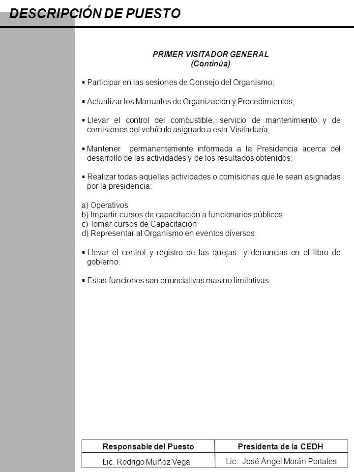 DESCRIPCIÓN DE PUESTO PRIMER VISITADOR GENERAL (Continúa) Participar en las sesiones de Consejo del Organismo; Actualizar los Manuales de Organización
