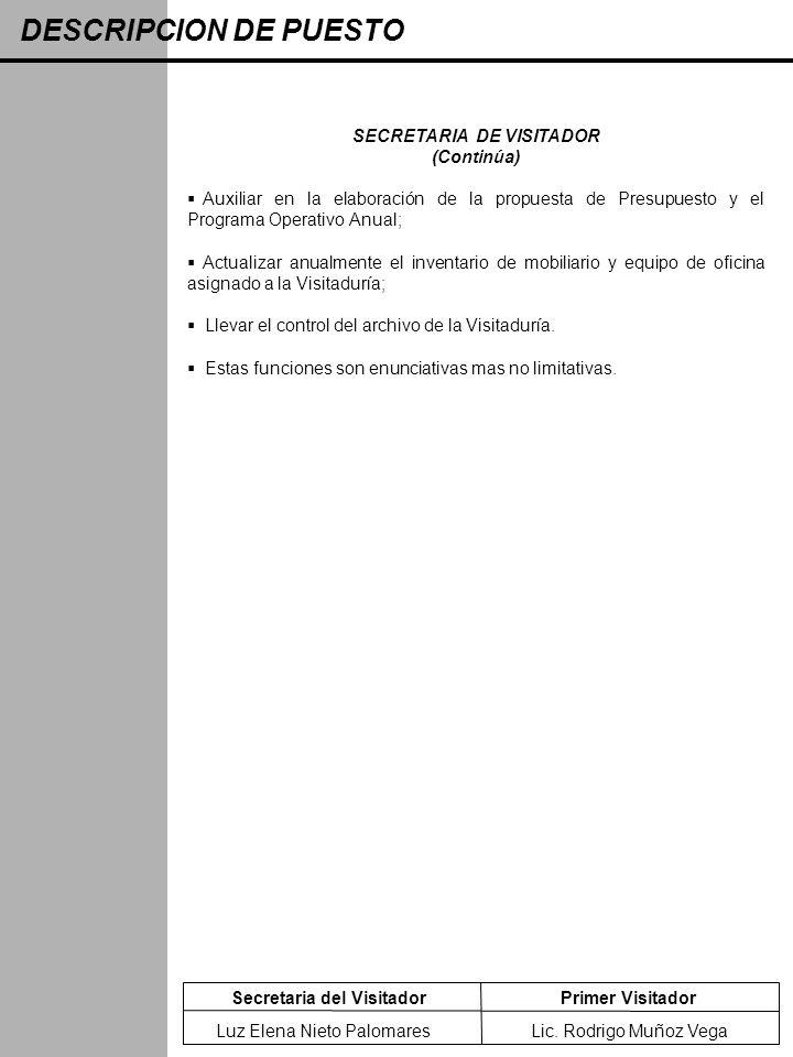 DESCRIPCION DE PUESTO Secretaria del VisitadorPrimer Visitador SECRETARIA DE VISITADOR (Continúa) Auxiliar en la elaboración de la propuesta de Presup
