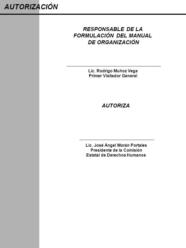 RESPONSABLE DE LA FORMULACIÓN DEL MANUAL DE ORGANIZACIÓN Lic. José Ángel Morán Portales Presidente de la Comisión Estatal de Derechos Humanos AUTORIZA