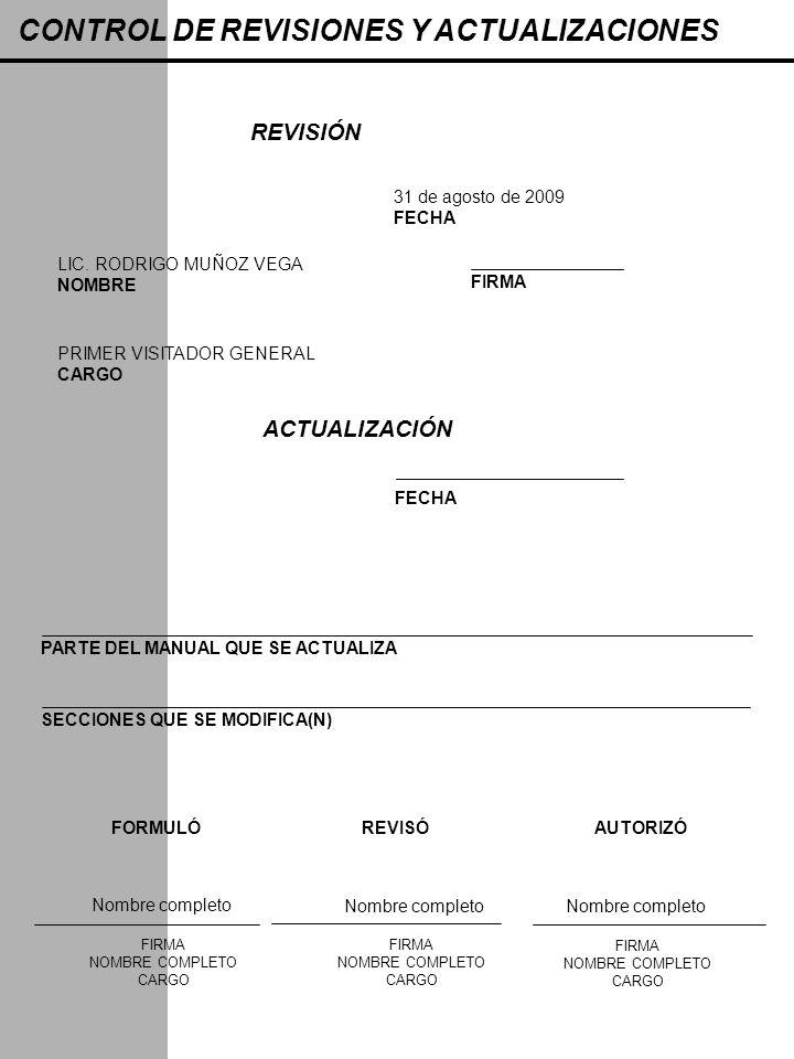 CONTROL DE REVISIONES Y ACTUALIZACIONES REVISIÓN 31 de agosto de 2009 FECHA LIC. RODRIGO MUÑOZ VEGA NOMBRE FIRMA PRIMER VISITADOR GENERAL CARGO ACTUAL