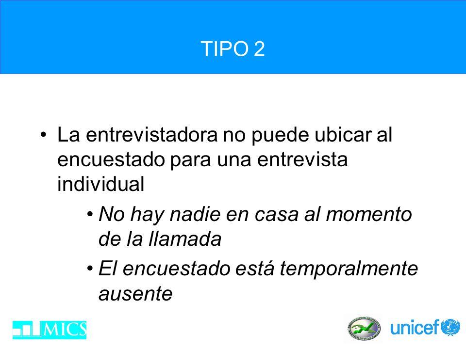 TIPO 3 El encuestado se niega a ser entrevistado –Se debe monitorear estrechamente la cantidad de negativas –Razones para negativas frecuentes –¿Qué hacer.