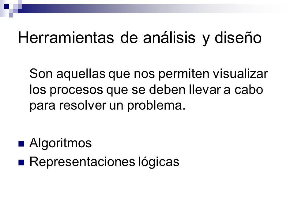 Herramientas de análisis y diseño Son aquellas que nos permiten visualizar los procesos que se deben llevar a cabo para resolver un problema. Algoritm