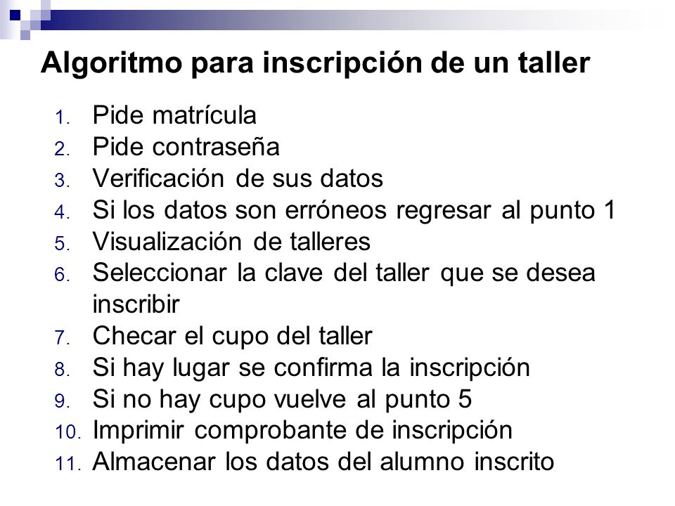 Algoritmo para inscripción de un taller 1. Pide matrícula 2. Pide contraseña 3. Verificación de sus datos 4. Si los datos son erróneos regresar al pun