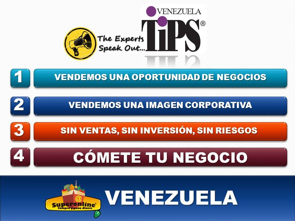 VENEZUELA VENEZUELA VENDEMOS UNA OPORTUNIDAD DE NEGOCIOS VENDEMOS UNA IMAGEN CORPORATIVA SIN VENTAS, SIN INVERSIÓN, SIN RIESGOS CÓMETE TU NEGOCIO 1 2 3 4