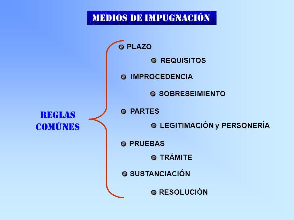 REGLAS COMÚNES PLAZO REQUISITOS IMPROCEDENCIA SOBRESEIMIENTO PARTES LEGITIMACIÓN y PERSONERÍA PRUEBAS TRÁMITE SUSTANCIACIÓN RESOLUCIÓN