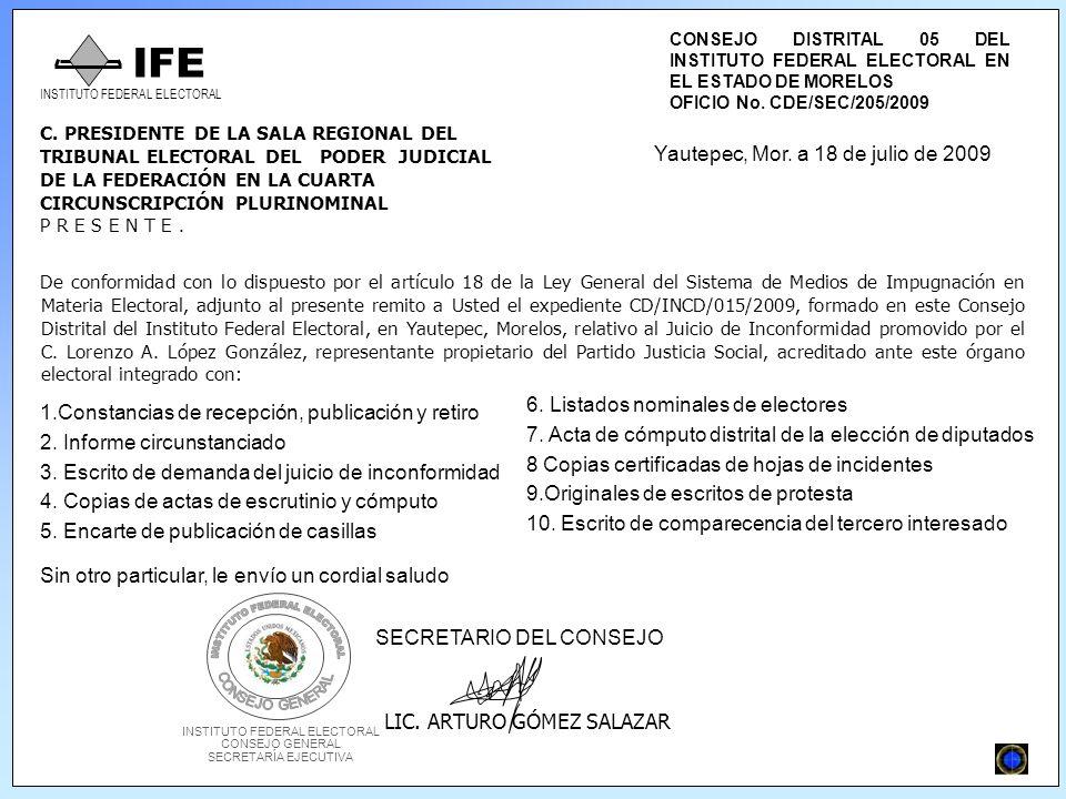 CONSEJO DISTRITAL 05 DEL INSTITUTO FEDERAL ELECTORAL EN EL ESTADO DE MORELOS OFICIO No.