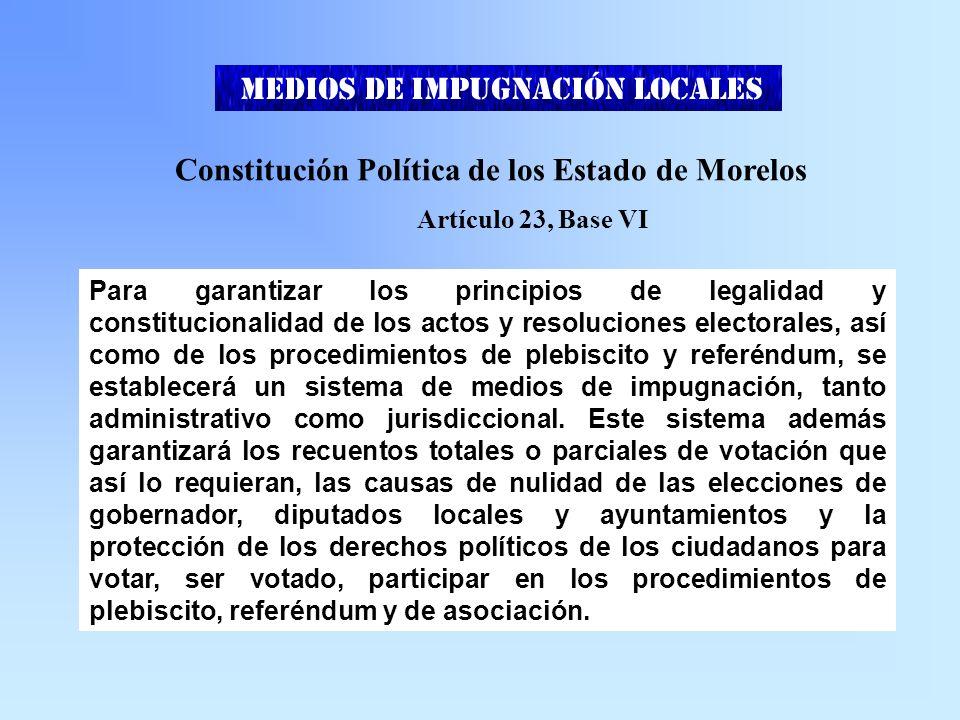 FEDERALES MEDIOS DE IMPUGNACIÓN Ley General del Sistema de Medios de Impugnación en Materia Electoral LOCALES CÓDIGO ELECTORAL MORELOS